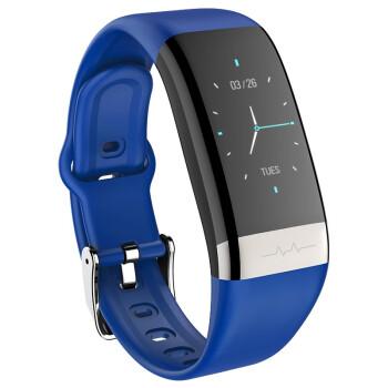 IXOスマートブレスレット心拍血圧心電図モニタリング健康多機能運動計ステップ腕時計男女アップルAndroid汎用(青)